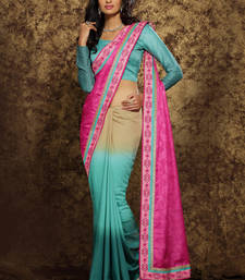 Buy Pink embroidered silk saree with blouse half-saree online