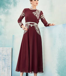 Buy Maroon embroidered georgette party-wear-kurtis eid-kurti online