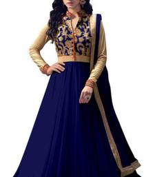 Buy Navy blue net semi stitiched salwar with dupatta semi-stitched-salwar-suit online