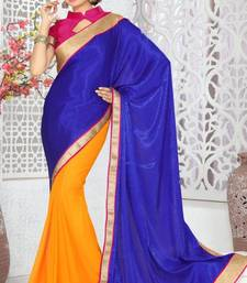 Buy Shiny Mango and Royal Blue Color Faux Chiffon and Crepe Jacquard Saree With Blouse crepe-saree online