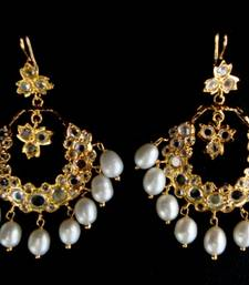 Buy ETHENIC POLKI N REAL WHITE PEARLS HANGINGS IN CHAND BALI STYLE Earring online