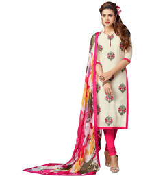 Buy Cream embroidered chanderi unstitched salwar with dupatta dress-material online