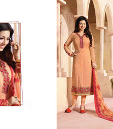 Buy peach georgette embroidered semi stitiched salwar with dupatta ayesha-takia-salwar-kameez online