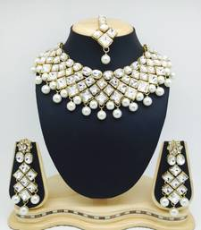 Buy Antique Gold Plated White Stone Bridal Wedding Link Necklace Set curated-jewelry online