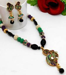 Buy Meenakari Curvy Necklace Green Black Violet Necklace online