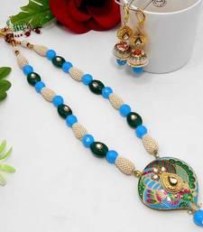 Buy Meenakari Drop Necklace Blue Green Pink Necklace online