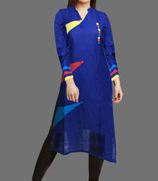 Buy Blue printed cotton cotton-kurtis cotton-kurti online