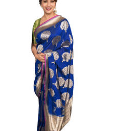 Buy Blue embroidered nylon saree with blouse silk-saree online