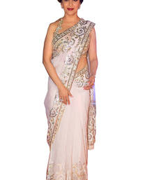 Buy Gold embroidered net saree with blouse madhuri-dixit-saree online