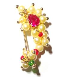 Buy Nath Small Clip type Maharashtrian traditional Nose ring of Pearl bead nose-ring online
