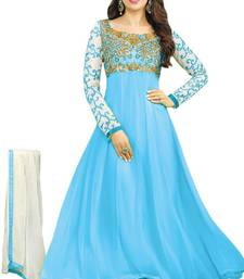 Buy Sky blue georgette embroidered semi stitched salwar with dupatta anarkali-salwar-kameez online