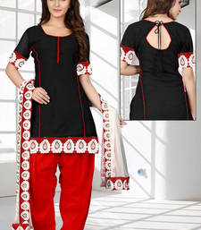 Buy Black self design georgette unstitched salwar with dupatta punjabi-suit online