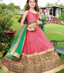 Buy pink embroidered brocade kids lehenga choli kids-lehenga-choli online