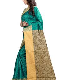Buy Green plain plain saree with blouse jacquard-saree online