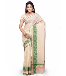 Beige Cotton Handloom Traditional Saree shop online