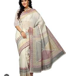 Buy Aria off white cotton printed saree ks327 cotton-saree online
