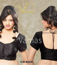 Buy 1 meter unstitched Fabric for blouse in Silk - black x 35. A Muhenera Collection blouse-fabric online