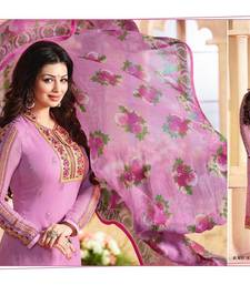 Buy purple georgette embroidered semi stitiched salwar with dupatta semi-stitched-salwar-suit online