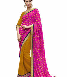 Buy Pink embroidered jacquard saree with blouse jacquard-saree online