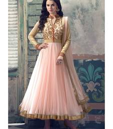 Buy Baby pink embroidered faux georgette unstitched salwar with dupatta anarkali-salwar-kameez online