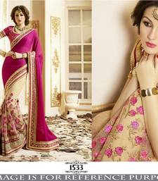 Buy Pink hand woven georgette saree with blouse wedding-saree online
