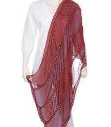 Buy Just Women- Brown Coloured Polka Dot Patch Work Stole stole-and-dupatta online