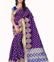 Buy Purple printed banarasi silk saree with blouse banarasi-saree online
