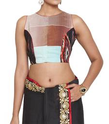 Buy multicolor pure crepe readymade blouse readymade-blouse online