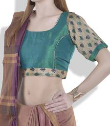 Buy Green and beige chanderi solk readymade blouse readymade-blouse online