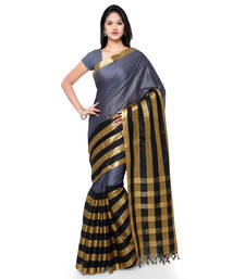 Buy Grey hand woven cotton silk saree with blouse handloom-saree online