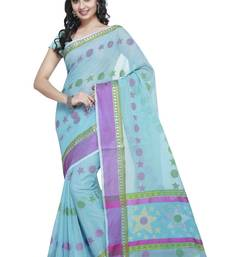 Blue embroidered kota silk saree with blouse shop online