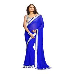 Buy blue plain georgette saree with blouse patola-sari online