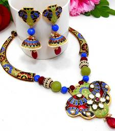 Buy Meenakari Ethnic Pipe Necklace  1 Necklace online