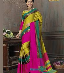 Buy Green printed cotton silk saree with blouse organza-saree online