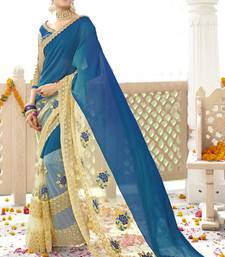 Buy Blue printed georgette saree with blouse diwali-discount-offer online