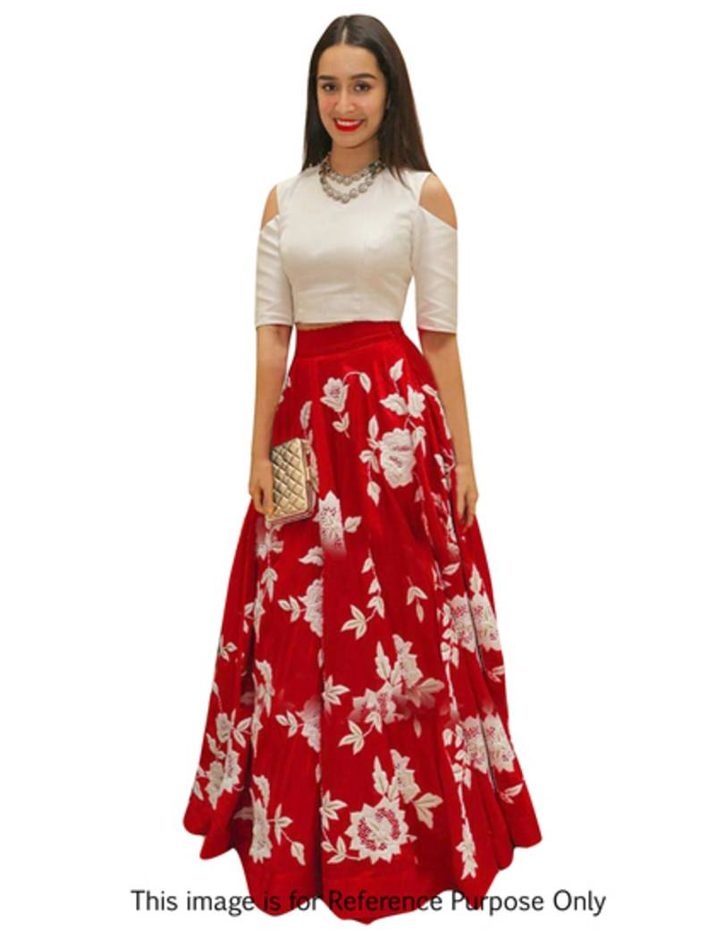 Buy Red And White Silk Embroidered Indo Western Lehenga