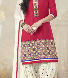 Buy Red printed cotton poly unstitched salwar with dupatta patiala-salwar online