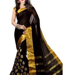 Buy Black embroidered cotton saree with blouse cotton-saree online