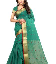 Buy Green hand woven cotton silk saree with blouse tussar-silk-saree online