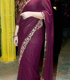 Buy magenta embroidered georgette saree with blouse bollywood-saree online