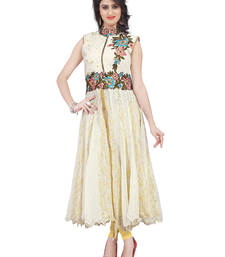 Buy White embroidered satin kurtas-and-kurtis eid-kurti online