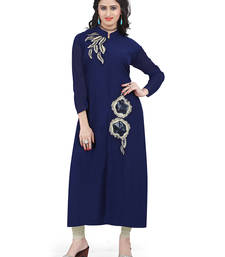 Buy Blue embroidered satin kurtas-and-kurtis eid-kurti online