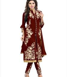 Buy brown embroidered georgette semi stitched salwar with dupatta anarkali-salwar-kameez online