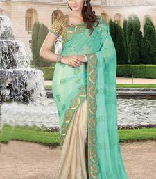 Buy Sky blue embroidered net saree net-saree online