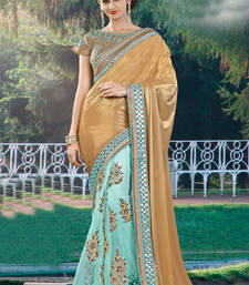 Buy Gold embroidered net saree with blouse one-minute-saree online