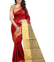 Buy Red plain cotton silk saree with blouse patola-sari online