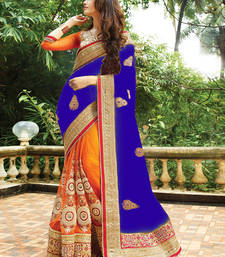 Buy Navy blue embroidered georgette saree with blouse wedding-saree online