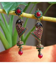 Peacock Earrings in Blue n Red shop online