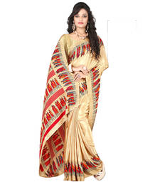 Buy Golden printed crepe saree with blouse crepe-saree online