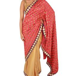 Buy Pink Gold Half and Half pure Georgette Satin saree with star shaped motifs on border satin-saree online